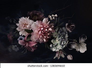 Vintage flowers. Peonies, tulips, lily, hydrangea on black. Floral background. Baroque style floristic illustration. - Shutterstock ID 1383694610
