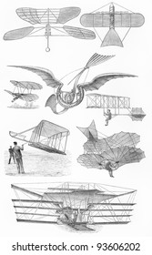 Vintage flying machines from the 19th century period - Picture from Meyers Lexicon books collection (written in German language ) published in 1908 , Germany.