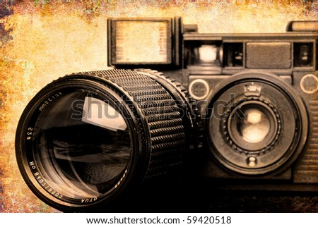 Grunge Camera Effect : Vintage folding camera grunge texture scratches stock photo edit