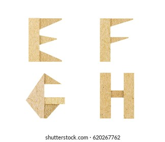 Vintage Font, graphic is paper craft font. recycle style is rough texture and isolated on white background. It's dicut object to attached with path files.