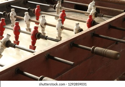 Vintage foosball soccer table old wooden classic
