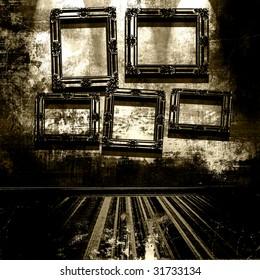 Vintage Frames In Grunge Room