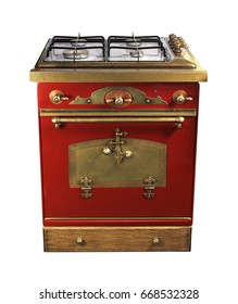 Vintage free standing red kitchen gas stove with oven on white background