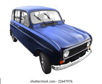 vintage French dark blue car isolated on white background