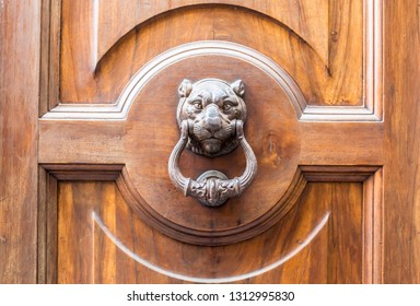 Vintage front door in the medieval city of Italy. Ancient streets of the city, beautiful doors and unusual door handles in the shape of a lion's head.