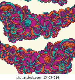 Vintage fun doodle hand-drawn abstract colorful pattern design