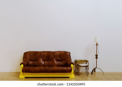 Vintage furniture in front of white wall