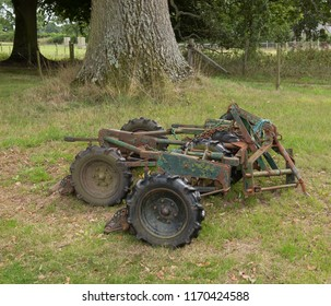 Vintage Gang Mower for Mowing the Outfield of a  Village Cricket Pitch in Rural Devon, England, UK