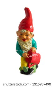 Vintage garden gnome isolated on the white background
