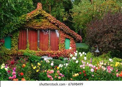 vintage garden house in butchart gardens, victoria, vancouver island, canada
