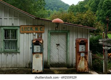 Vintage Gas Pumps at an Old Gas Station in Rural North Carolina