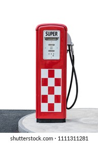 vintage gasoline pump isolated on a white background