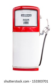 Vintage Gasoline Pump Isolated on white background with clipping path