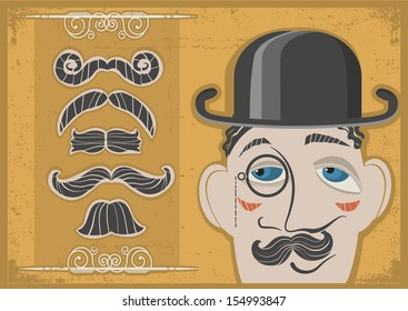 Vintage gentleman face in bowler hat and mustaches on old paper.Raster