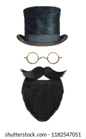 Vintage gentleman hat, glasses and black beard with curly mustache isolated on a white background