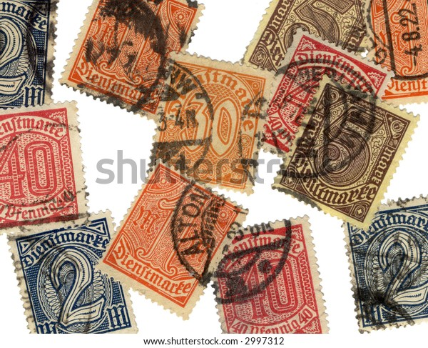 Vintage german stamps from the early 20th century