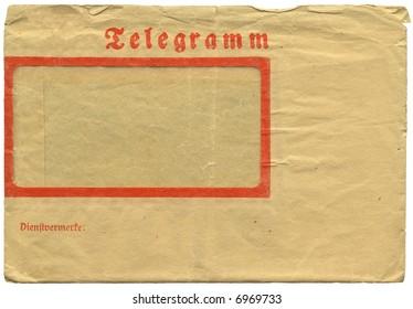 Vintage german telegram envelope, frontside
