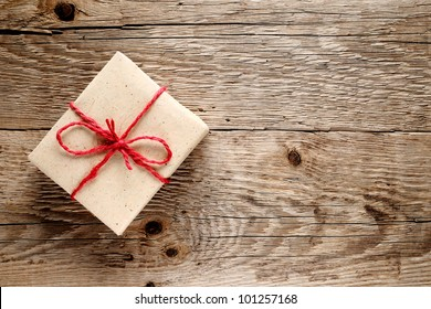 Vintage gift box on wooden background