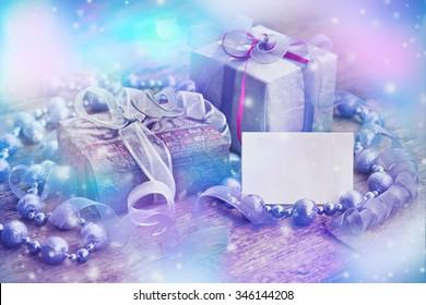 vintage gift box package, Birthday Christmas gift boxes with blue and pink ribbons on wooden background. Merry Christmas background