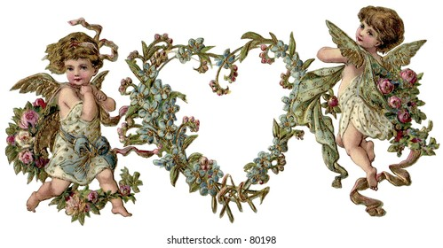 Vintage, gilded Valentine heart wreath illustration with cupids. Background digitally removed to give delicate, die-cut effect.