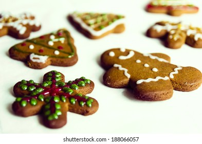Vintage gingerbread cookies - Holiday Baking Vintage Christmas Background
