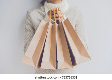 Vintage girl with a shopping bags , Sale, Consumerism and People Concept.