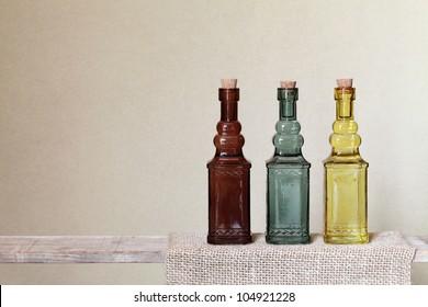 Vintage glass bottle on shelf
