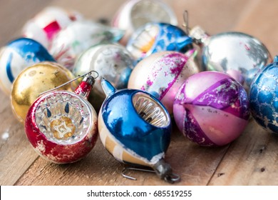 Vintage Glass Christmas ornaments on a wooden background