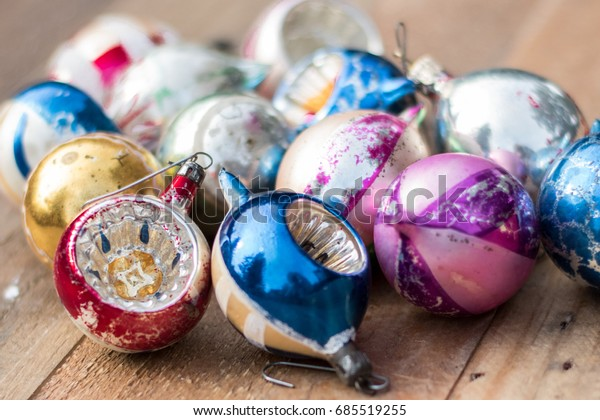 Vintage Glass Christmas Ornaments On Wooden Stock Photo Edit Now
