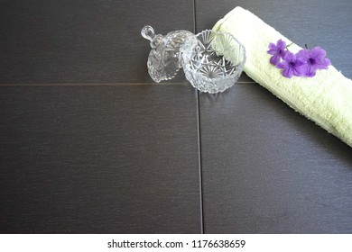 vintage glass container, towel and lavender