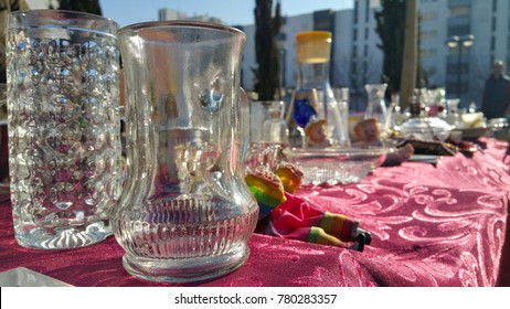 vintage glass items on sale at flea market