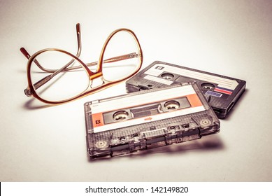 vintage glasses and cassettes