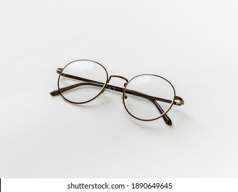 vintage glasses isolated on a white background. For reading daily life To a person with visual impairment. White background as background health concept with copy space.