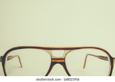 vintage glasses on isolated background
