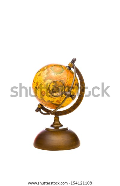 Vintage Globe with Magnifying Glass on Asia isolated on white