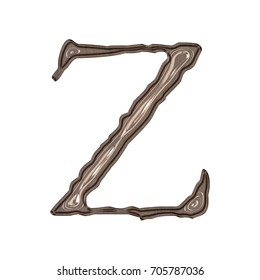 Vintage glossy sepia style uppercase or capital letter Z in a 3D illustration with a shiny plastic surface finish light brown color aged jagged font isolated on a white background with clipping path.
