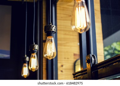 Vintage glowing tungsten light bulbs