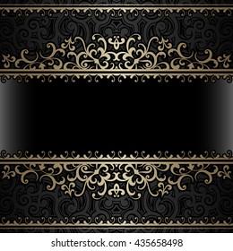 Vintage gold background, header, ornamental frame with curly borders, raster illustration
