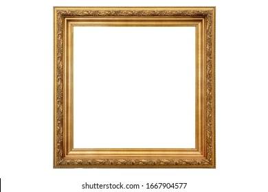 Vintage gold frame isolation on white
