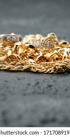 Vintage gold jewelry with copy space