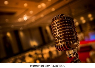 Vintage gold microphone  in party