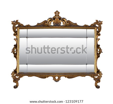 Vintage Gold Mirror Frame Isolated Clipping Stock Photo (Edit Now ...