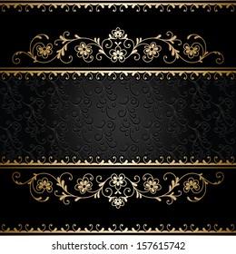 Vintage gold ornamental frame, raster background