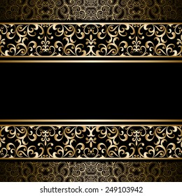 Vintage gold raster background, ornamental frame with seamless borders over pattern