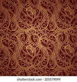 Vintage gold seamless pattern with ornate detailed ornament. Useful for packaging, invitations, gift cards and more.