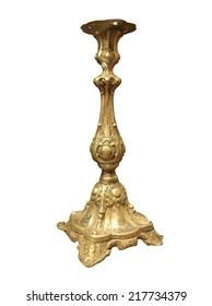 Vintage golden church utensil isolated over white background