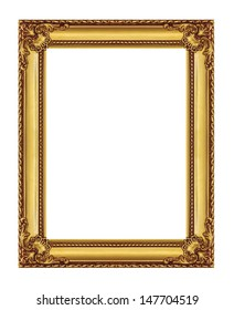 Vintage golden frame with blank space, with clipping path
