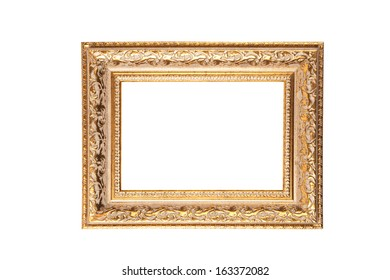 Vintage golden frame with blank space, isolated on white background