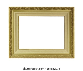 vintage golden frame isolated on white background with clipping path