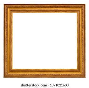 Vintage golden frame isolated on a white background